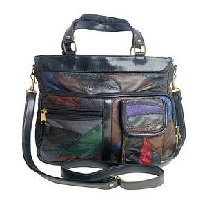 Vintage 90s Patchwork Colorblock Leather Crossbody